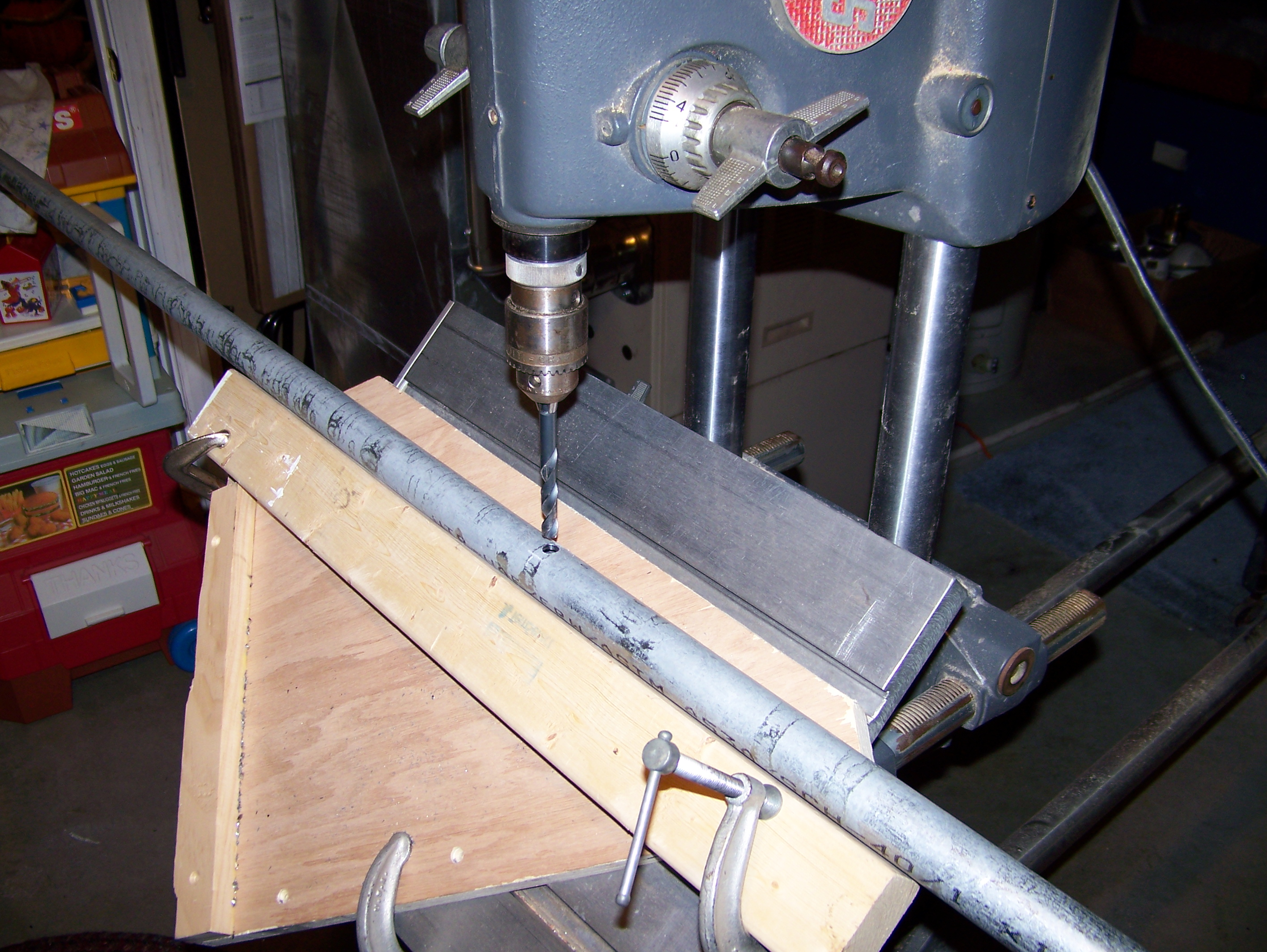 installing a new antenna gap titan dx ke1ri a new england ham my solution was to make a temporary v block out of a two by four clamped to some plywood that was in turn clamped to my drill press table