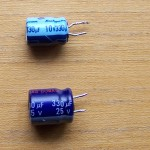 Original capacitor above & replacement below