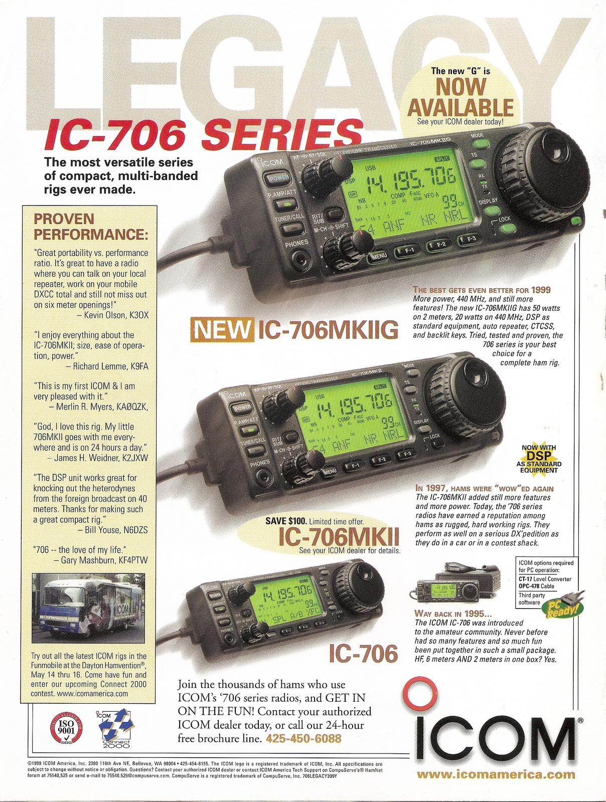 This advertisement from May 1999 QST shows the lineage of the IC-706MkIIG. I