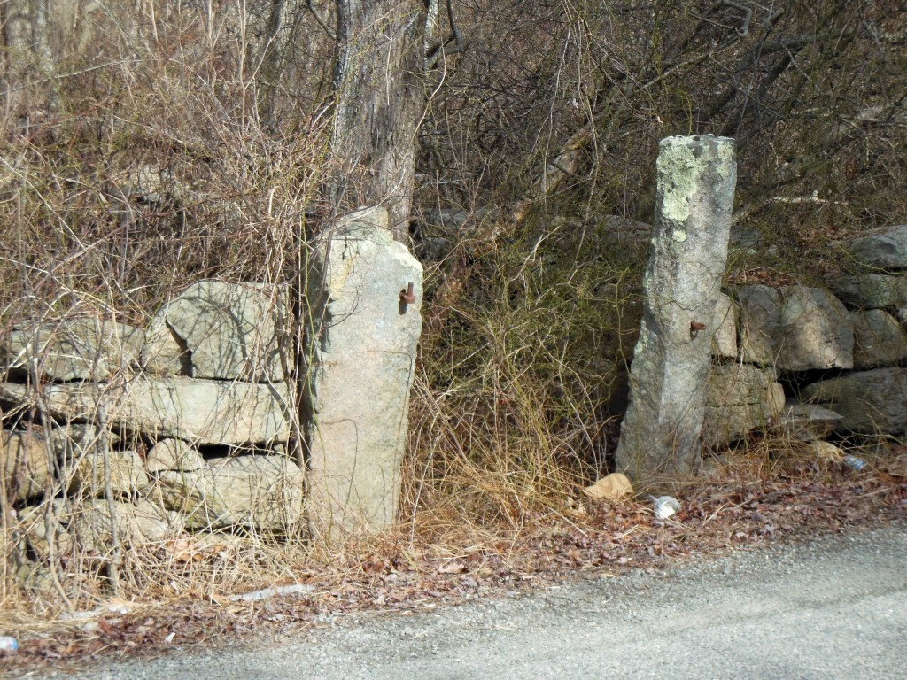 Our town, like many in New England, used to have a couple town pounds. It usually consisted of an enclosure with a brook running through it. Stray domestic animals were kept there until the owners paid a fee and picked them up. These granite posts would have supported an iron gate at one time. If this was on my property I would clean out all the bull briers and small trees. History should not be neglected.