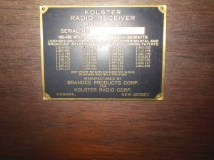 Instead of a UPC sticker with brief model information this is a brass plate with full patent history. Flash glare hides the serial number.