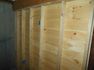 This is the back of the new side or partition wall. I put only one outlet here. I will decide how to finish it later.