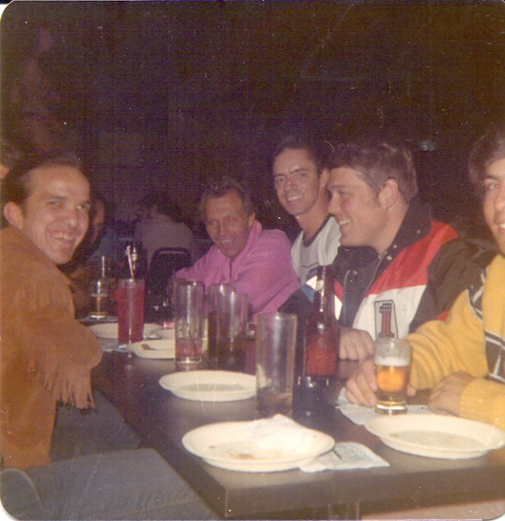 The crew frequently went out to eat and drink together. Pictured here from left to right: Butch Wilhelm, Evel, Lee and Mike Draper.