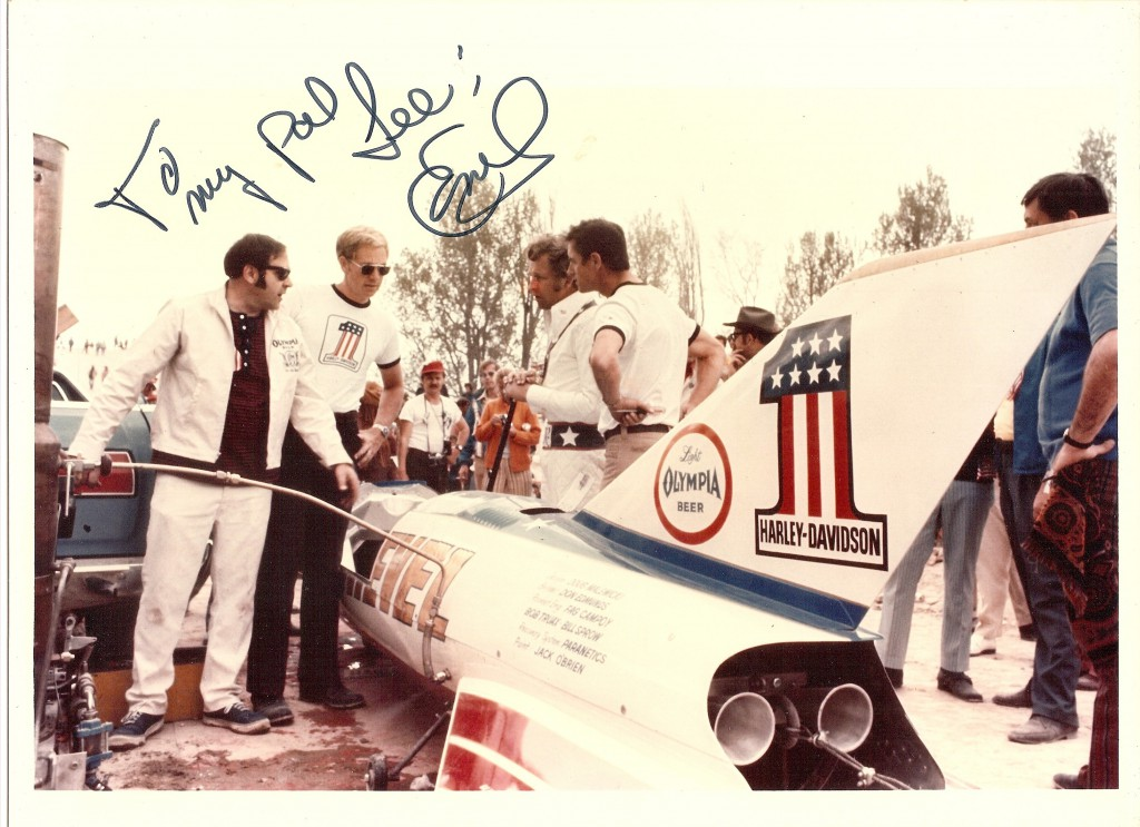 """To my pal, Lee"" pretty much sums up how Lee and Evel felt about each other. From left to right: Fagundo-Campoy, Jack Lancaster, Evel, and Lee"