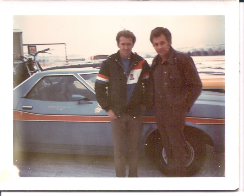 Jack Stroh (left) and Evel standing in front of the Ranchero.