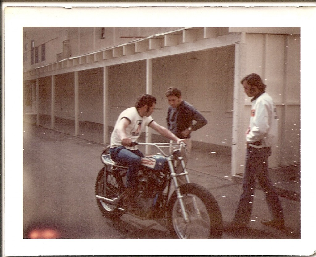 <B>Roger Reiman on the bike with Mert Lowell to his immediate left.</B>