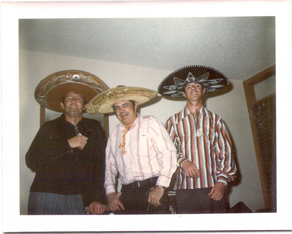 It was party time and Evel took the guys out to a Mexican restaurant. He bought everyone sombreros. From left to right: Jack Stroh, a painter (possibly also called Jack), and Lee.
